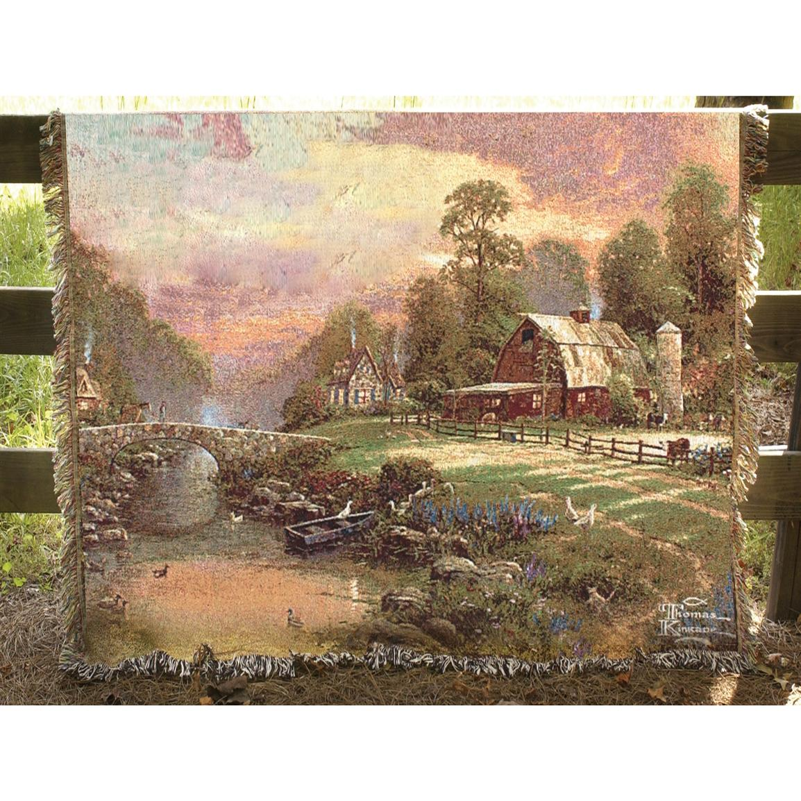 "Manual Woodworkers and Weavers, Inc. Thomas Kinkade ""Sunset at Riverbend Farm"" Tapestry Throw"
