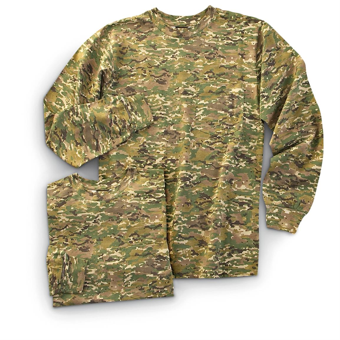 2 Military-style Long-sleeved Shirts, X-camo