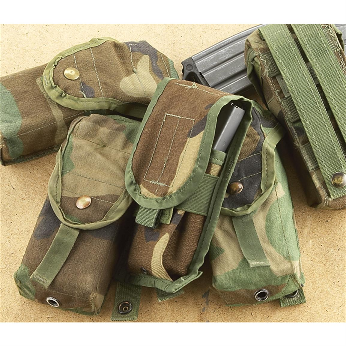 5 Used U.S. Military M16A2 Mag Pouches, Woodland Camo