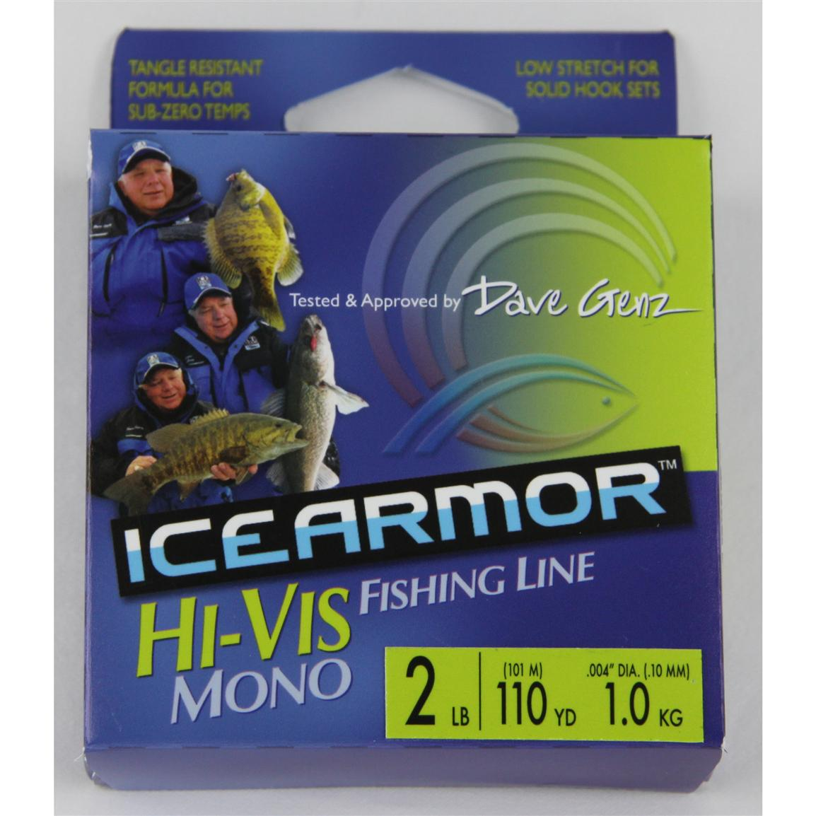 Clam dave genz hi visibility chartreuse ice armor for Hi vis fishing line