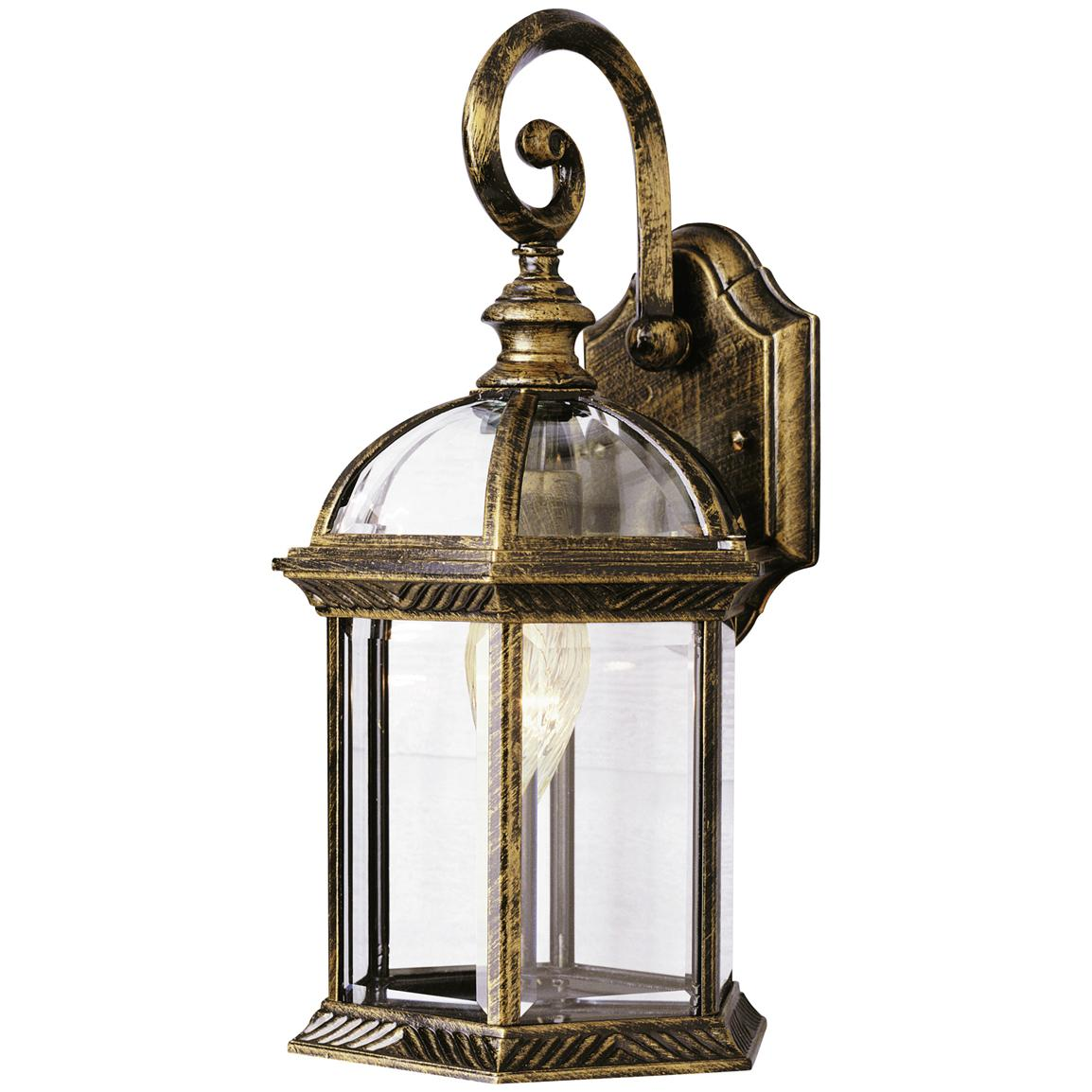 Trans Globe Lighting 1 - Light Outdoor Black and Gold Wall Lantern - 173596, Solar & Outdoor ...