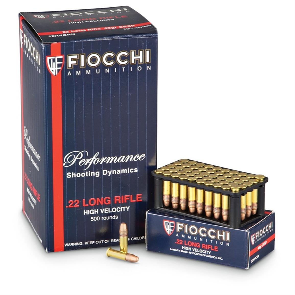 fiocchi 22lr 40 grain 500 rounds 174306 22lr ammo at