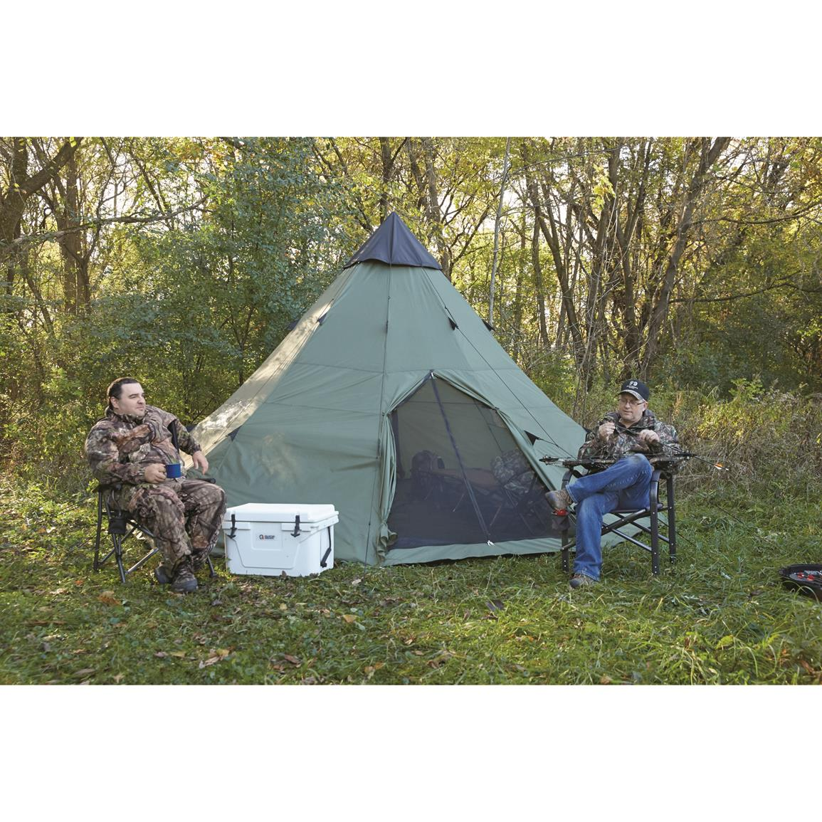 Center-zip door with no-see-um-mesh  sc 1 st  Sportsmanu0027s Guide & Guide Gear Teepee Tent 18u0027 x 18u0027 - 175419 Outfitter u0026 Canvas ...