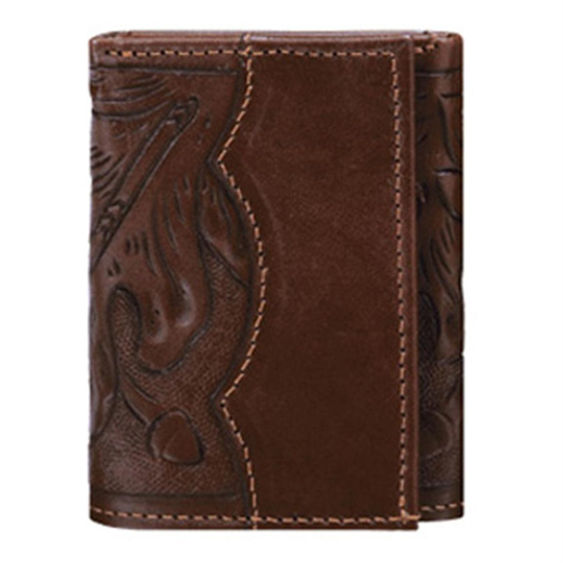American West® Tri-Fold Leather Wallet, Mahogany