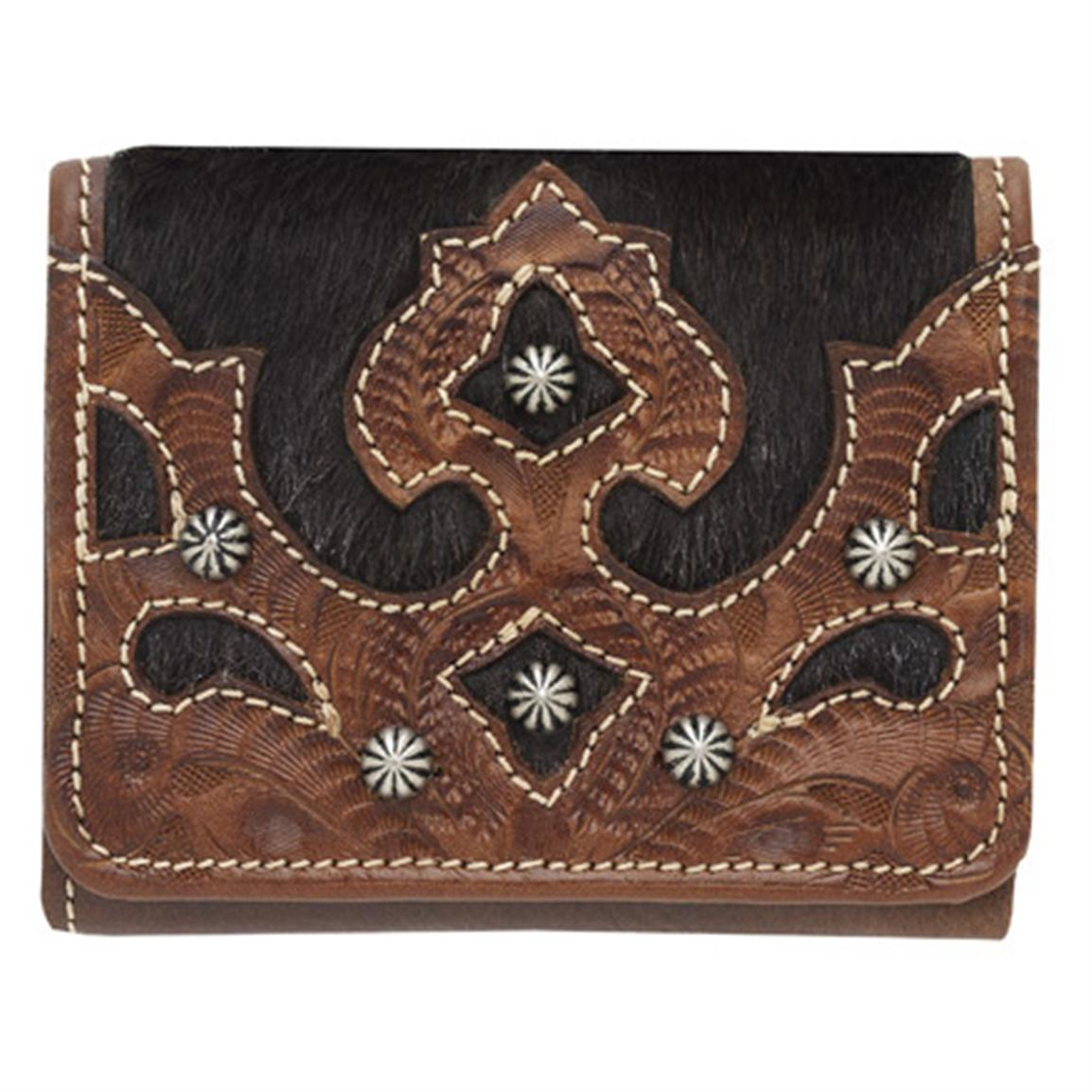 American West® Women's Tri-Fold French-style Leather Wallet, Antique Tan / Chocolate