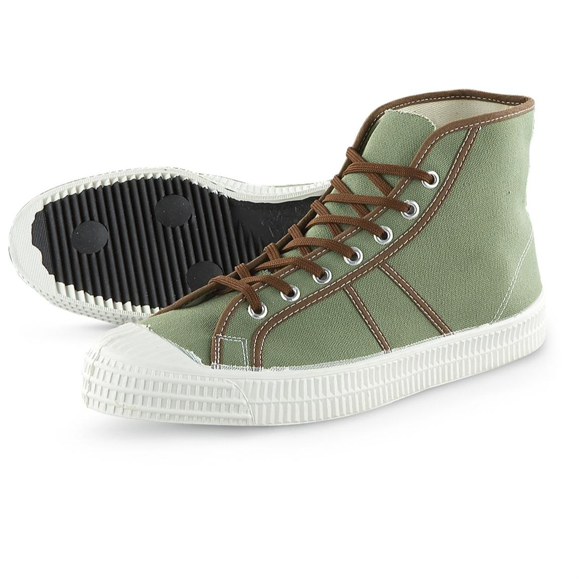 Men's New Czech Military Surplus High-top Sneakers, Green