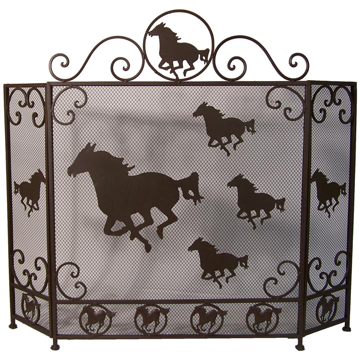 DeLeon Collections Horse Design Metal Fireplace Screen