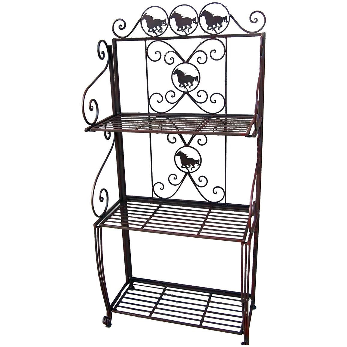 DeLeon Collections Metal 3 Tier Rack With Horse Design