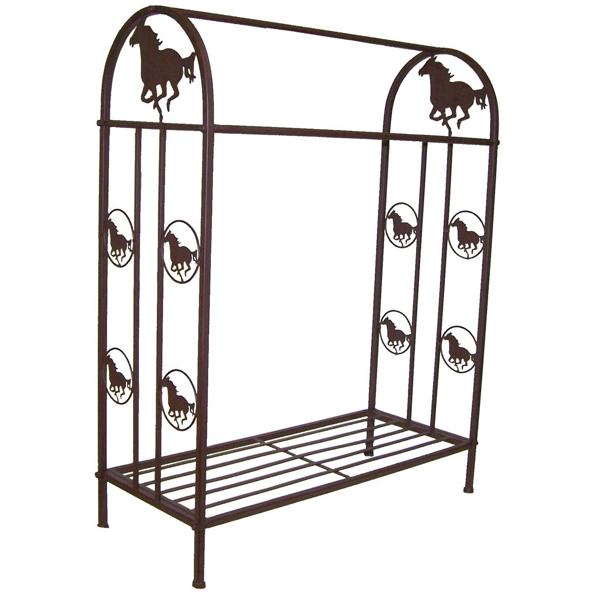 DeLeon Collections Metal Quilt Rack with Horse Design