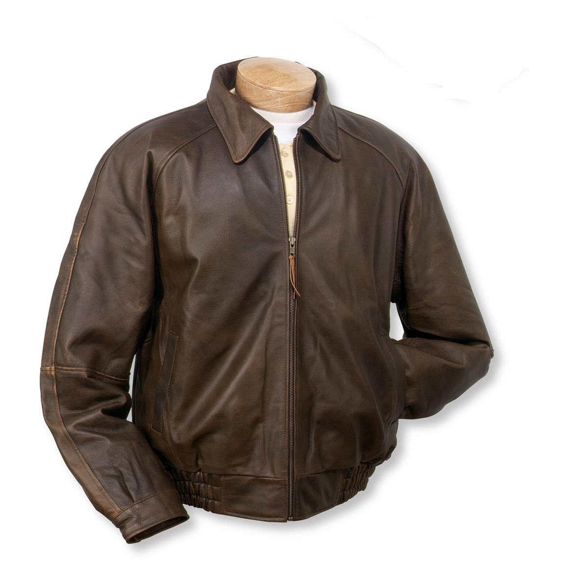 Men's Burk's Bay® Distressed Classic Leather Jacket, Brown ...