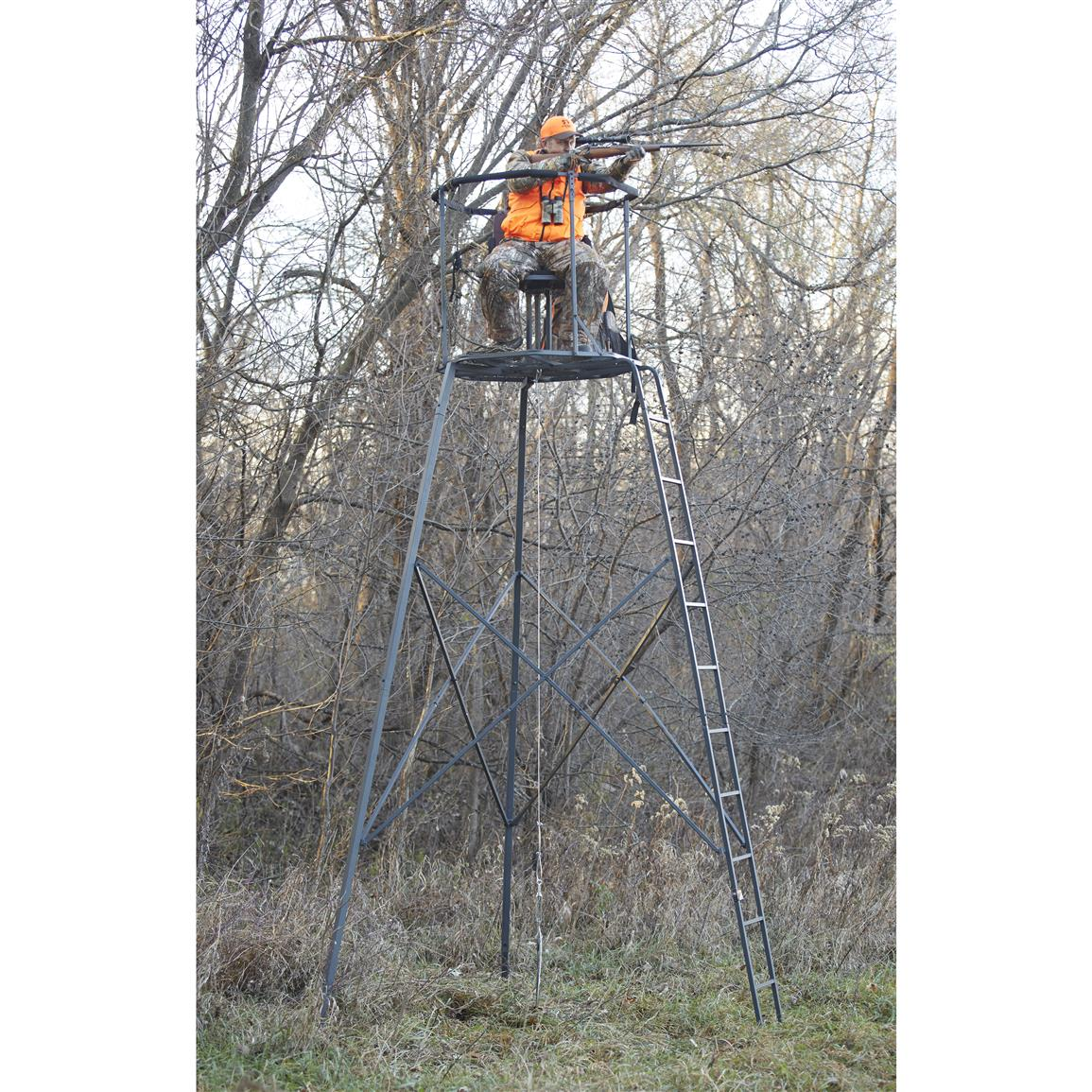 Includes extra-large leg stakes, center-mount tie down kit, and Safe Tree Stand Hunting Strategies DVD