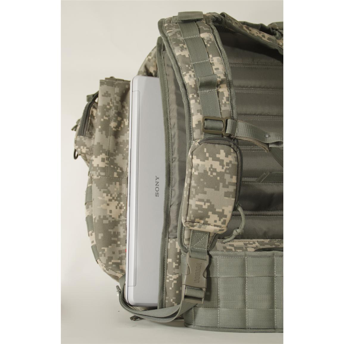 Includes multiple rows of MOLLE webbing attachment points
