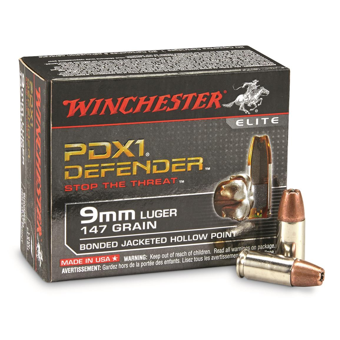 Winchester Defender, 9mm Luger, Bonded Jacketed Hollow Point, 147 Grain, 20 Rounds