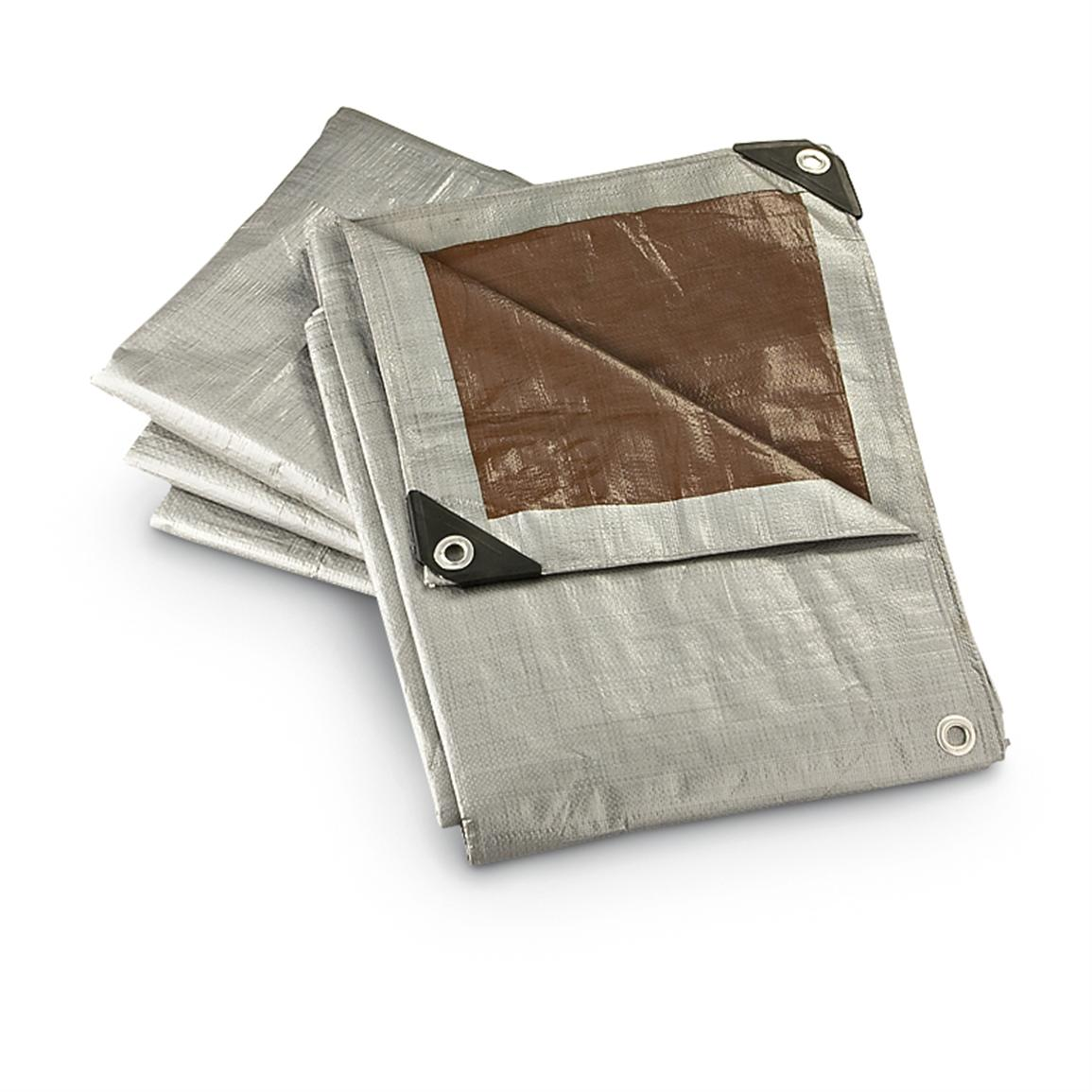 4 Heavy-duty 6x8' Tarps, Silver-tone / Brown