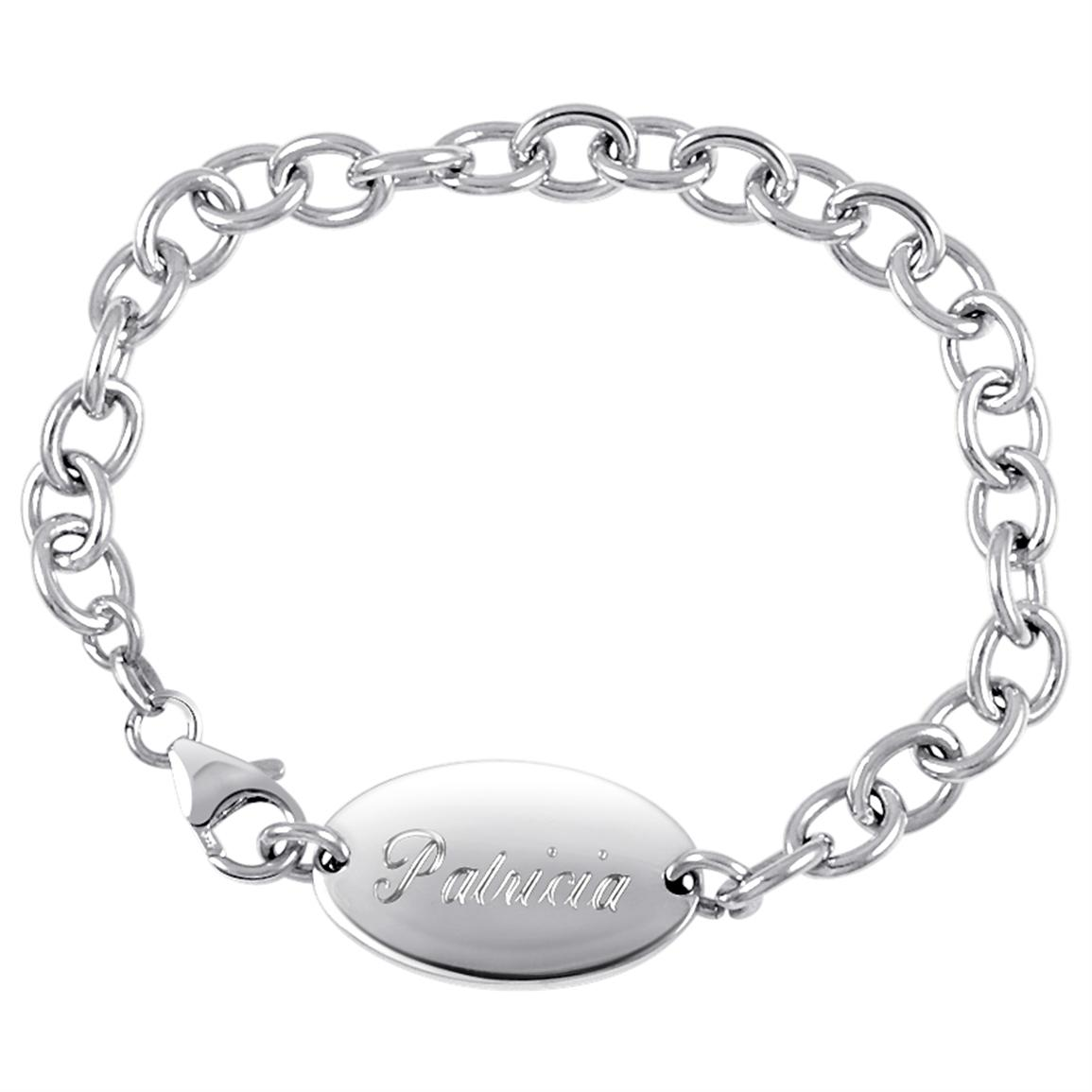 Hampden Sterling Silver Round Oval Name Bracelet, Lobster Claw Clasp