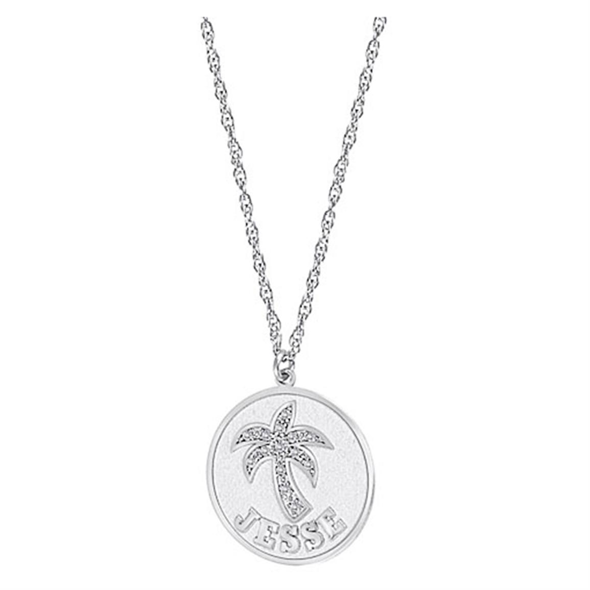 Hampden Sterling Silver / Cubic Zirconia Palm Tree Name Pendant, Spring Ring Clasp