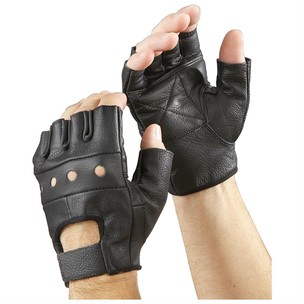 Mens gloves no fingers - 2 Prs Of Raider Fingerless Leather Gloves