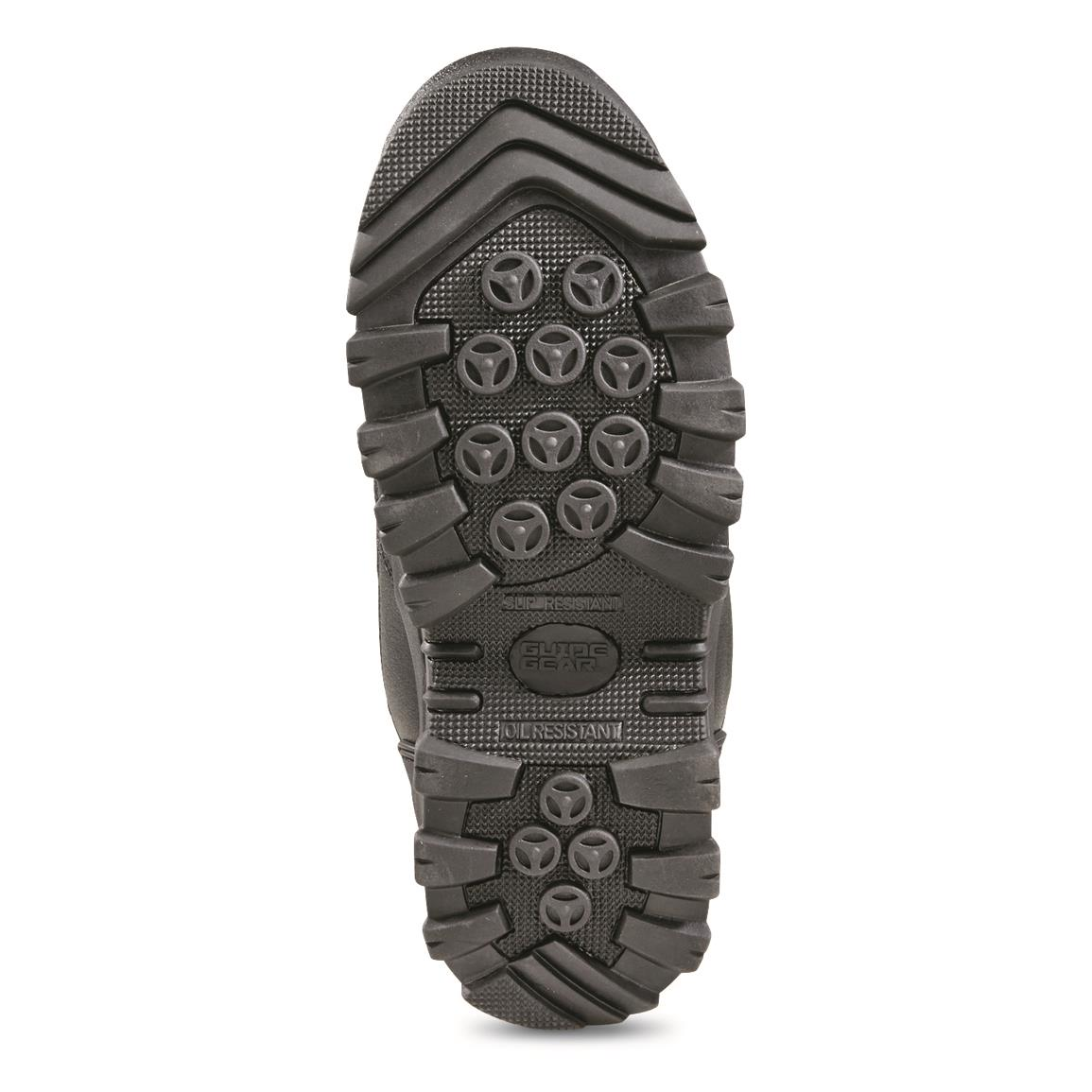 Sure-grip rubber lug outsole is oil resistant