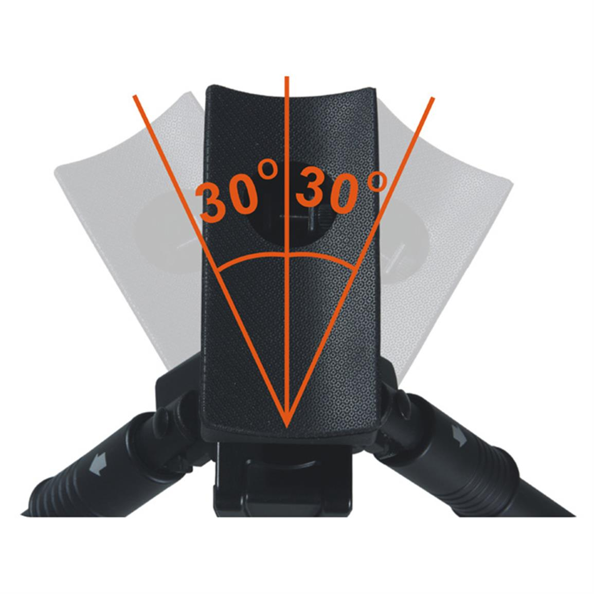 Has a pivot tilt of 0 to 5° and a -30° to 30° swing angle