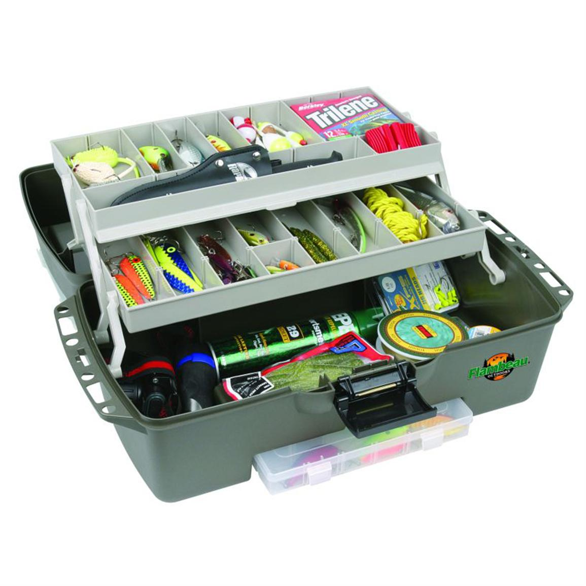 Opens up smoothly to reveal up to 36 compartments for your lures, line and tools