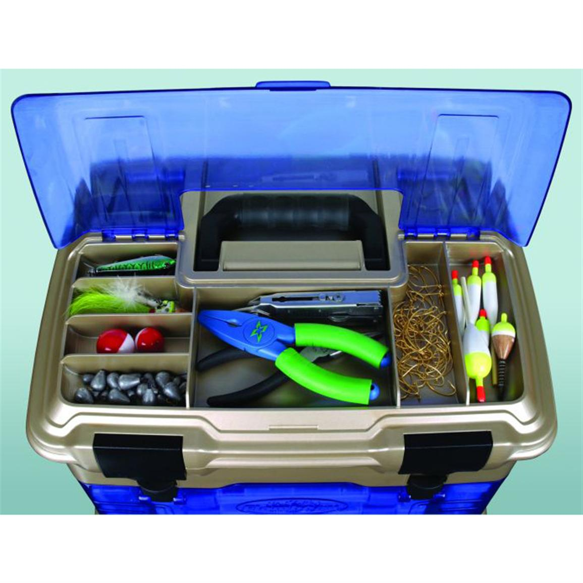Flip-top lid yields quick access to 7 tackle storage compartments