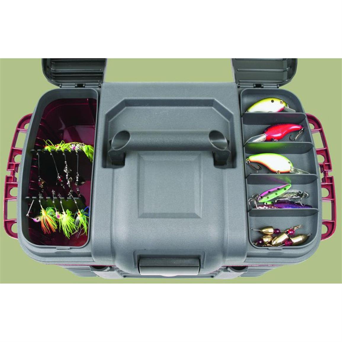 Dual-top lid access doors for terminal tackle and hanging baits
