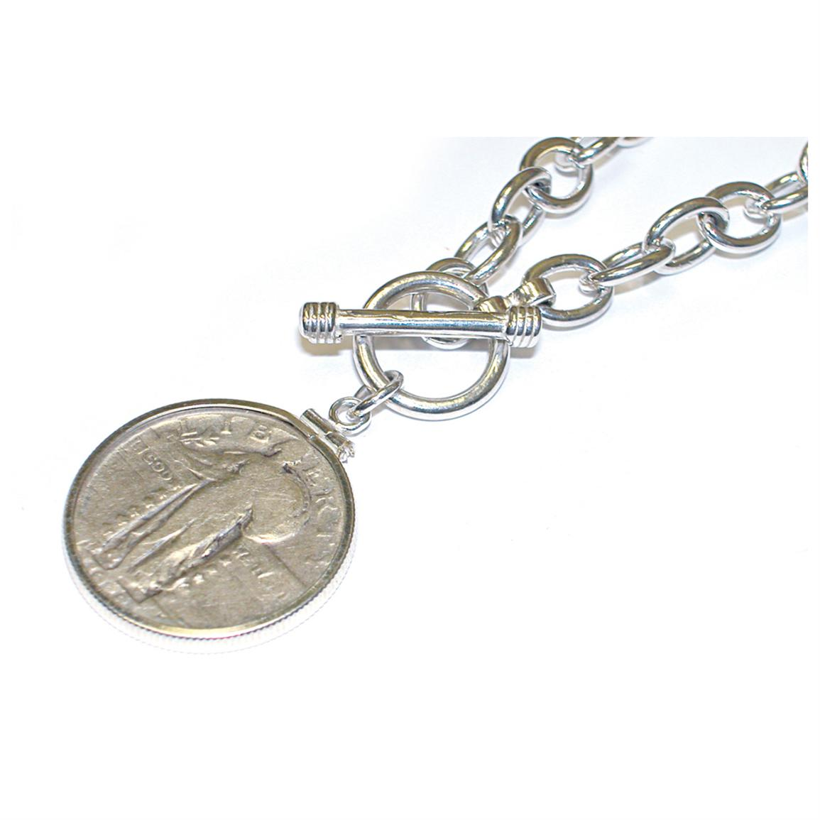 Sterling Silver Toggle Bracelet with Standing Liberty Silver Quarter from Unified Precious Metals