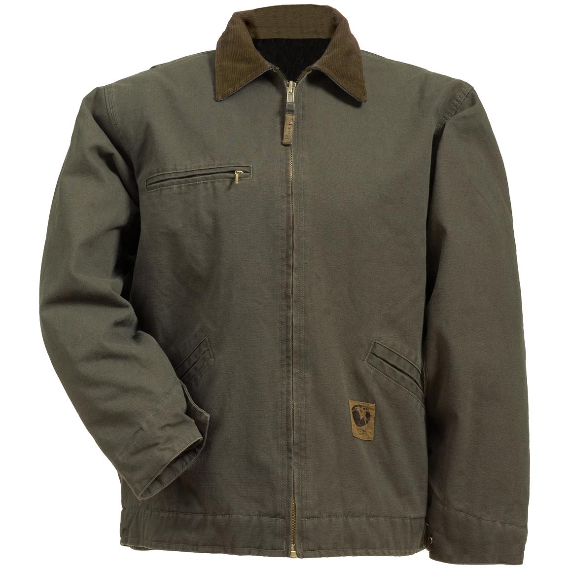 Berne Apparel® Fleece Lined Washed Gasoline Jacket, Olive