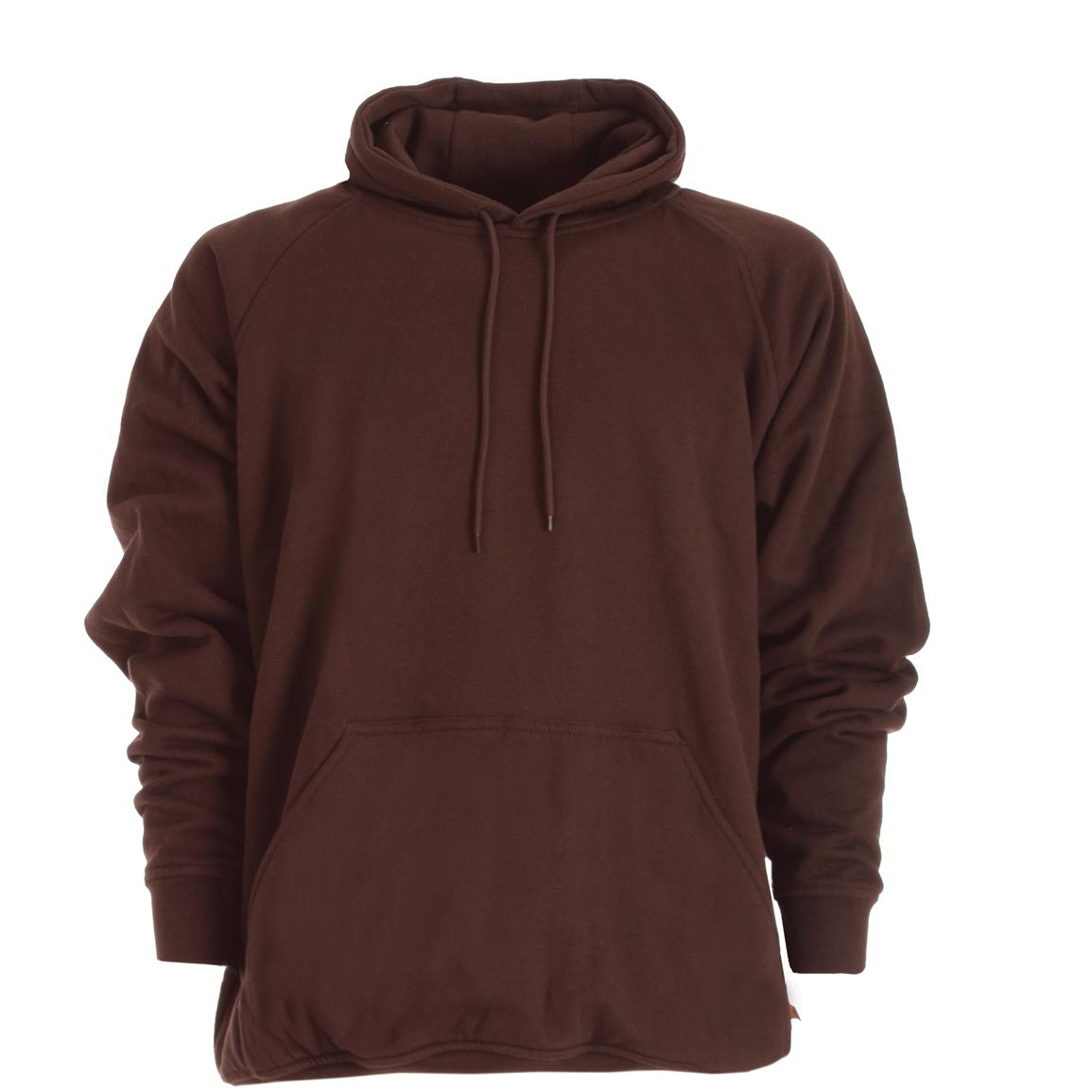 Berne Apparel® Thermal Lined Fleece Hooded Pullover, Dark Brown