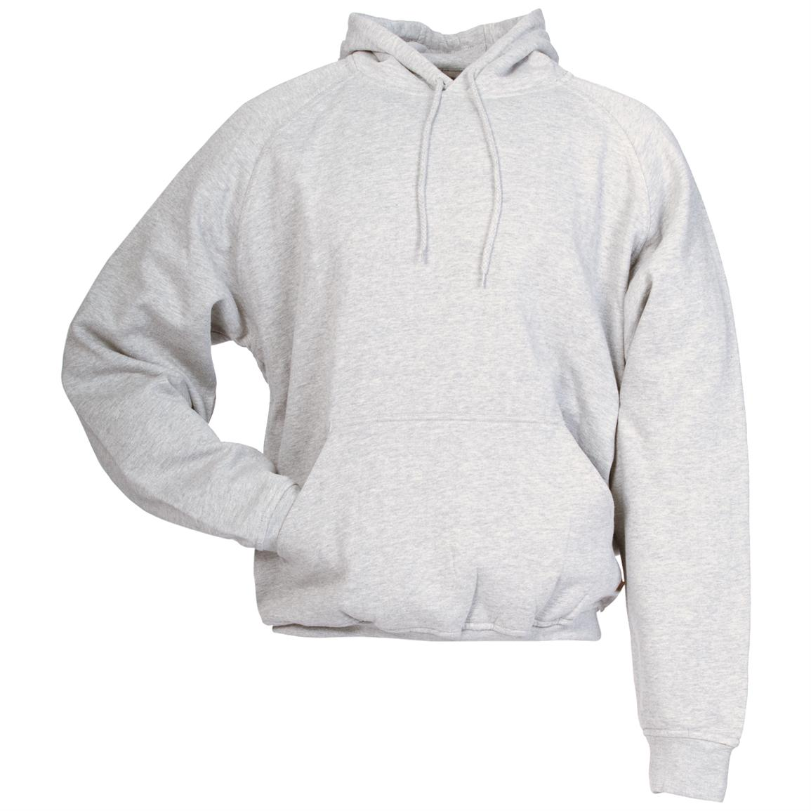 Berne Apparel® Thermal Lined Fleece Hooded Pullover, Heather Grey