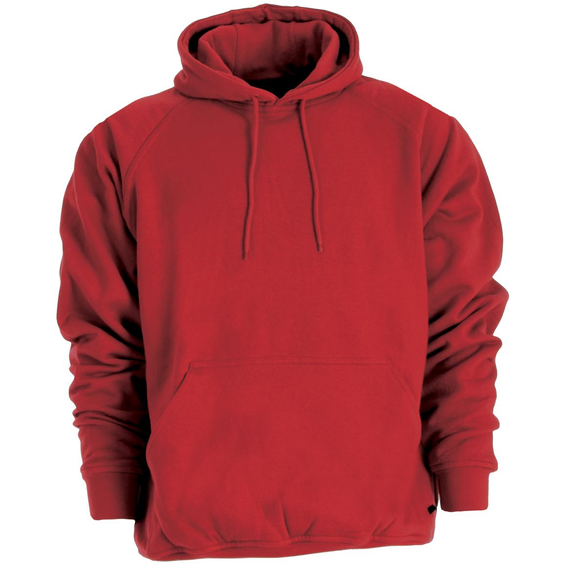 Berne Apparel® Thermal Lined Fleece Hooded Pullover, Ruby Red