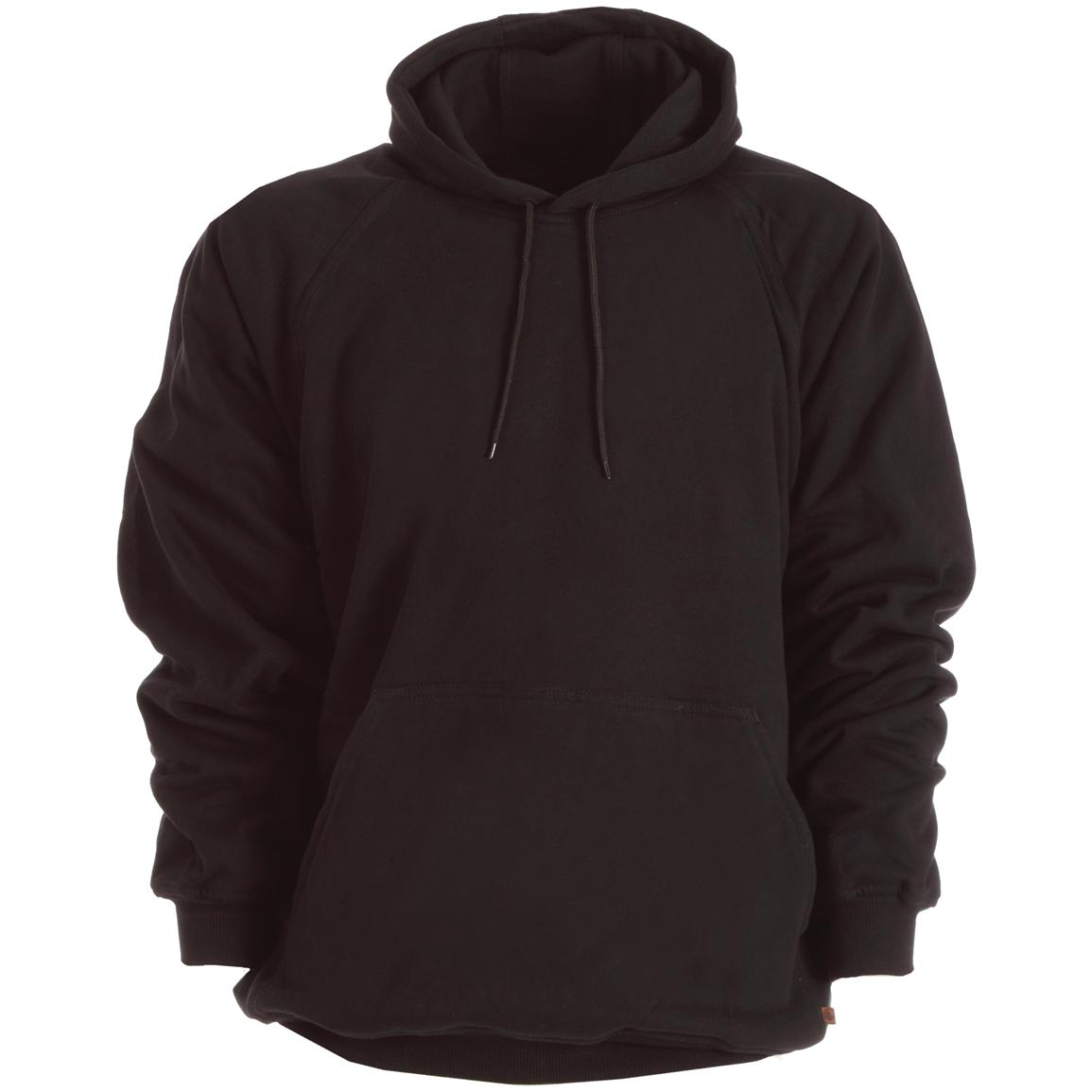 Berne Apparel® Thermal Lined Fleece Hooded Pullover, Black