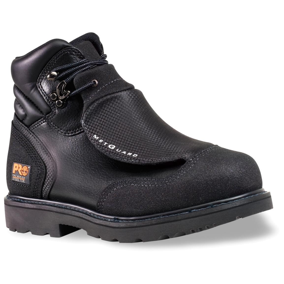 Men's Timberland® Pro® 6 inch Steel Toe Met Guard Boots, Black