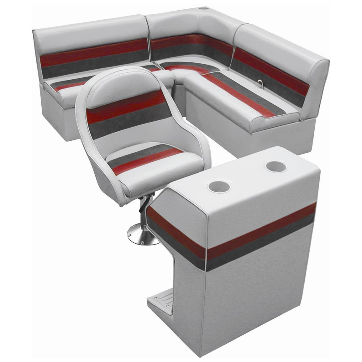 Wise® Rear Group Deluxe Pontoon Boat Seat (D) Style Seating, Light Grey / Red / Charcoal