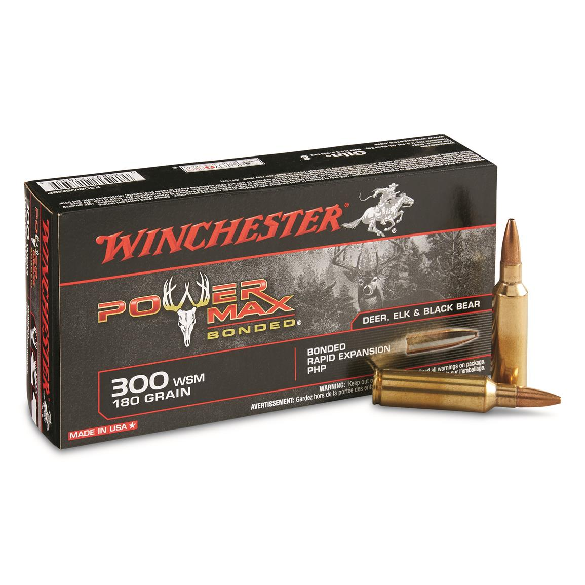 Winchester Power Max Bonded, .300 WSM, PHPB, 180 Grain, 20 Rounds