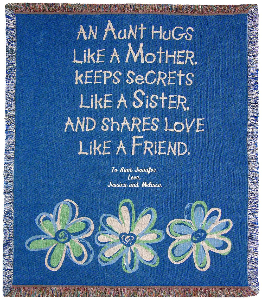 "A Plus® Personalized ""Aunt Hugs"" Throw"