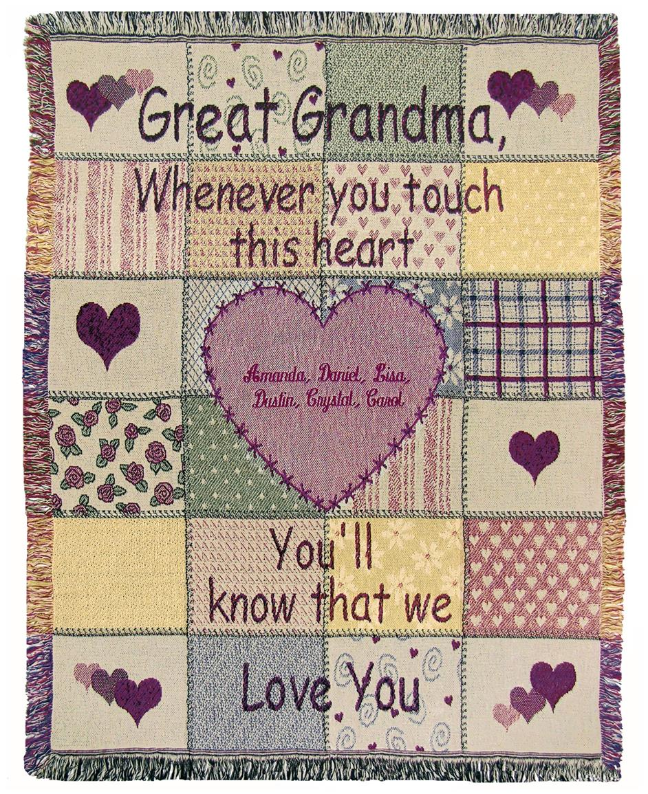 "A Plus® Personalized ""Great Grandmother"" Throw"