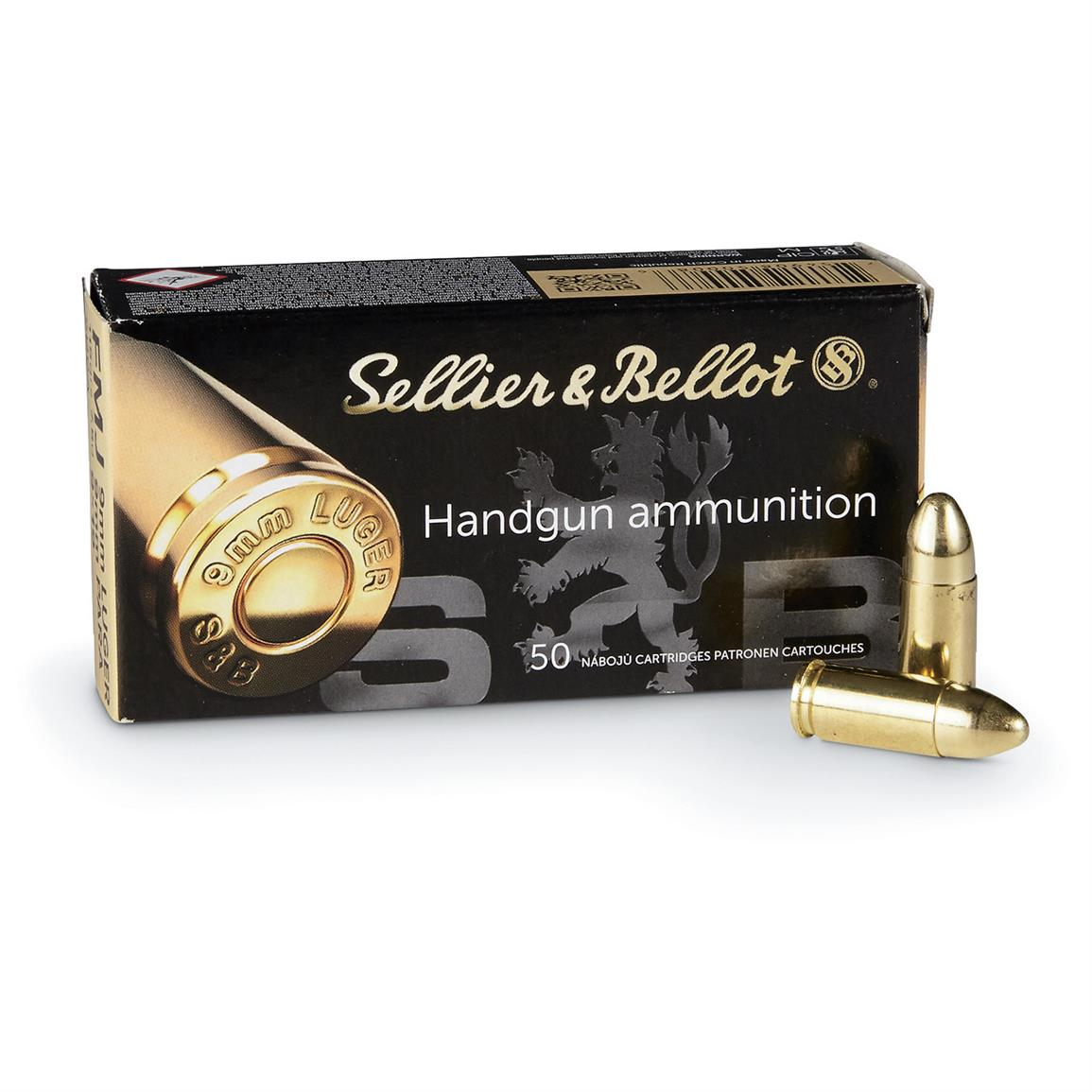 Sellier & Bellot, 9mm, FMJ, 124 Grain, 50 Rounds