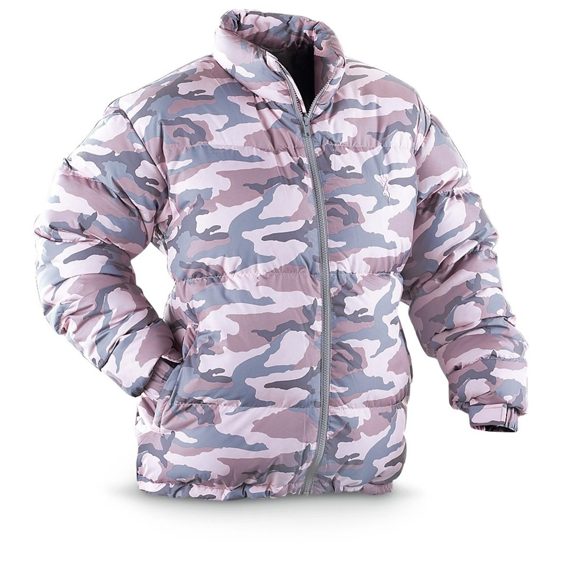 Women's Browning® Hooded Camo Down Jacket, Pink Camo - 186247 ...