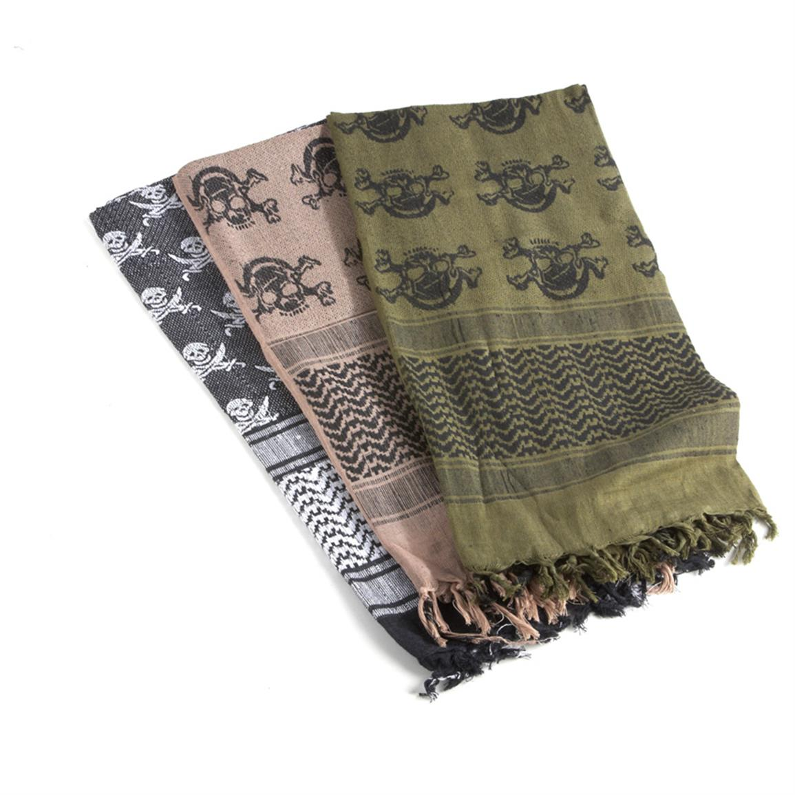 3-Pk. Coalition-style Scarves with Skulls, 1 Black / 1 Brown / 1 Olive Drab