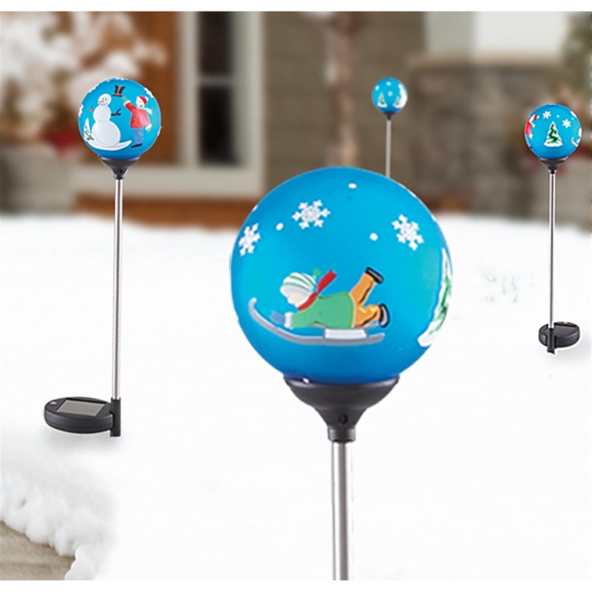 4 Color Changing Snowman Solar Lights 187678 Solar