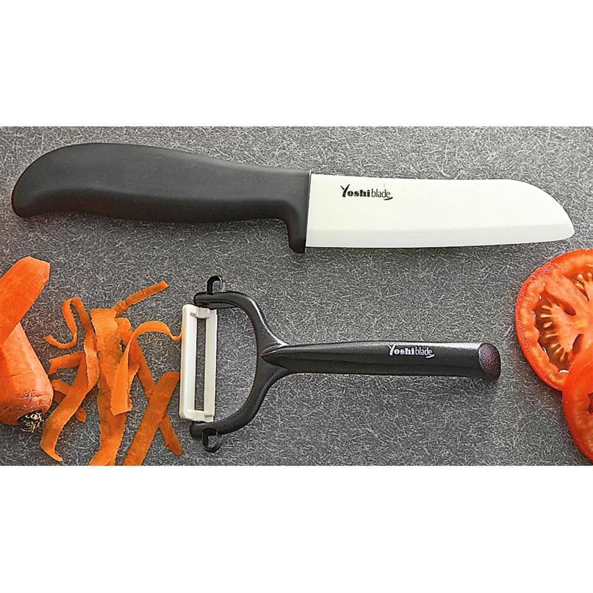 2 Pc Yoshi 174 Blade Ceramic Kitchen Knife And Peeler Set