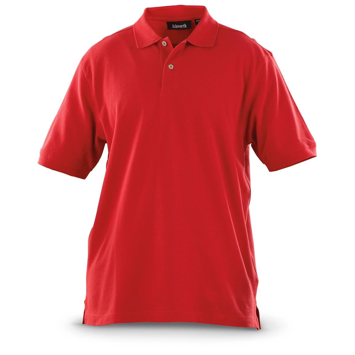 Ashworth® Solid Piqué Polo Shirts, Red