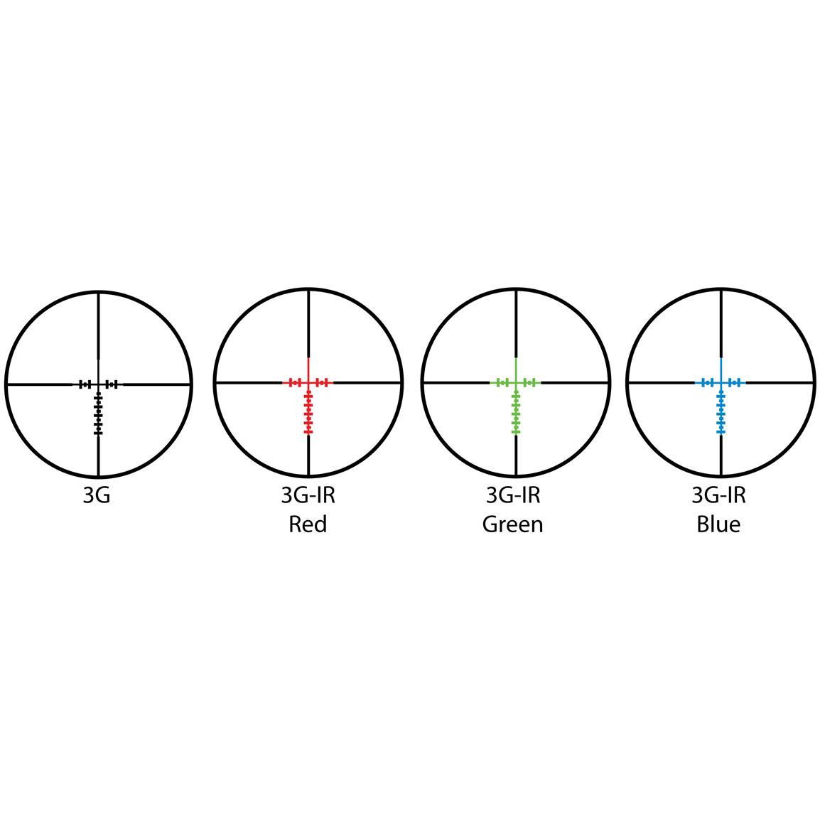 Precise 3G reticle illuminates in red, green or blue for targeting in any light conditions