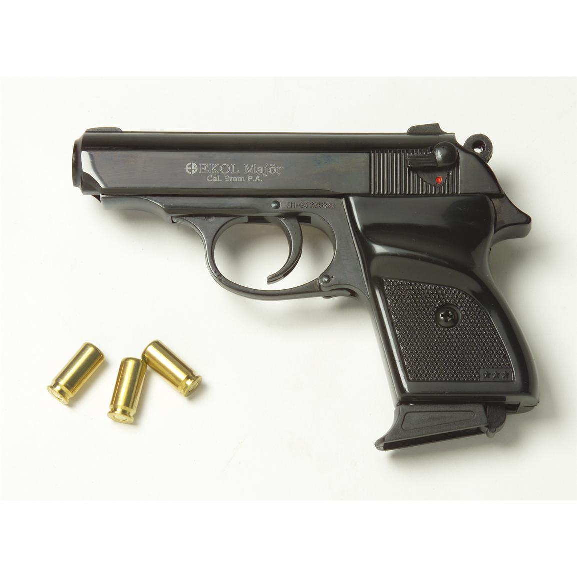 Blank-firing Major 9 mm Semi-Automatic Pistol, Black