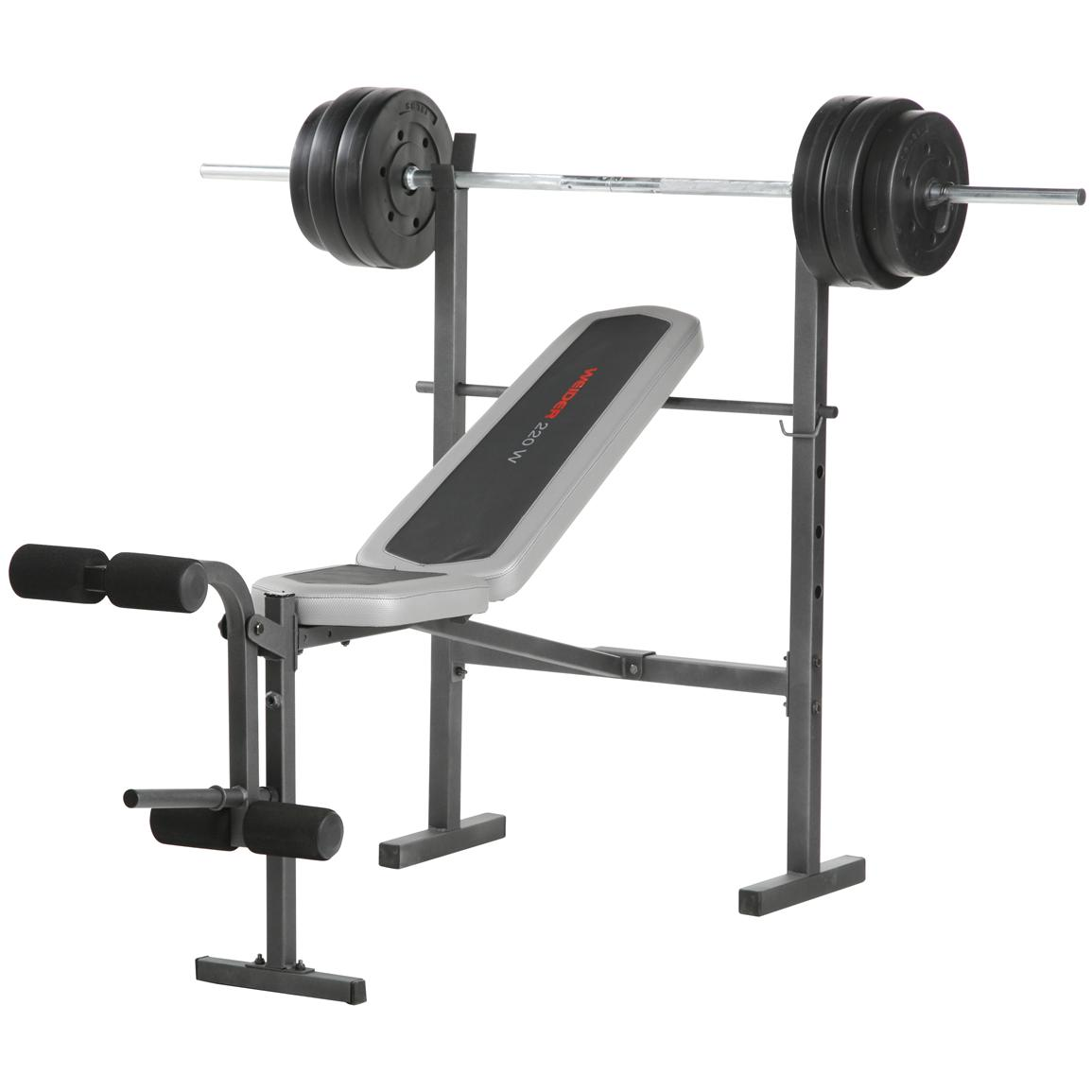Weider 220w combo bench with 80 lb weight set 189026 at sportsman 39 s guide Weight set and bench