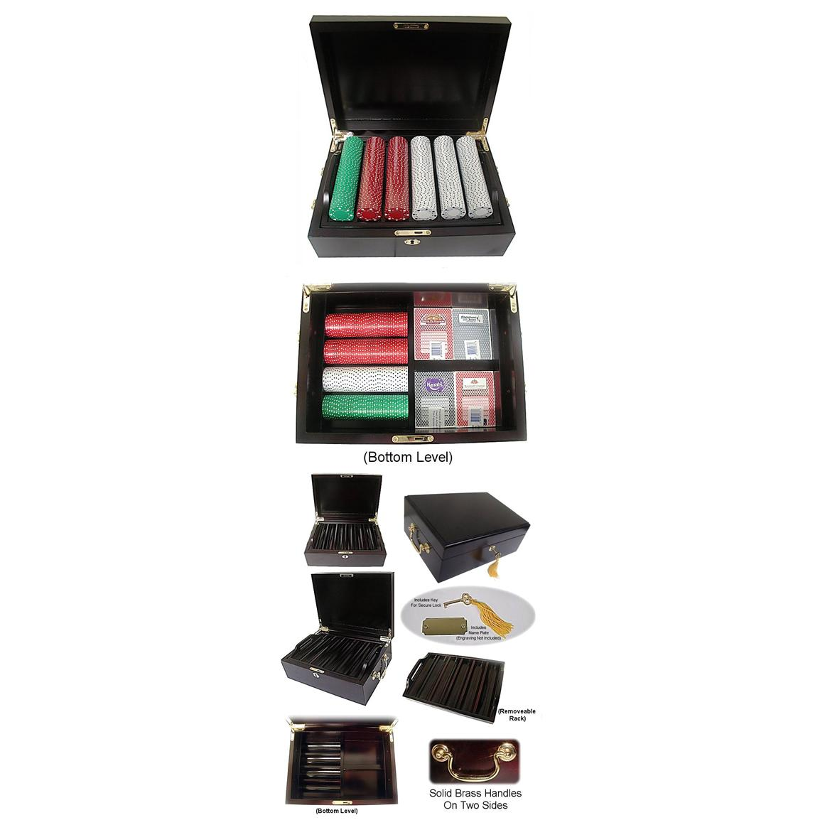 Trademark Global® #1 Best 500 - Chip Poker Set with Mahogany Case