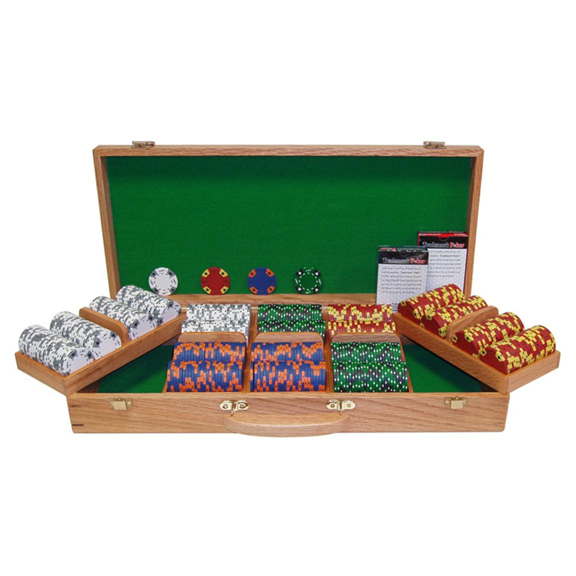 Trademark Global® 500 Tri-Color Ace / King Chips with Genuine Oak Case