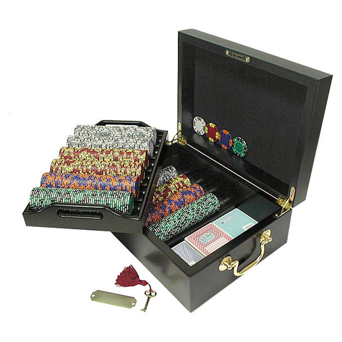 Trademark Global® 500 Tri-Color Suit Chip Set with Mahogany Case