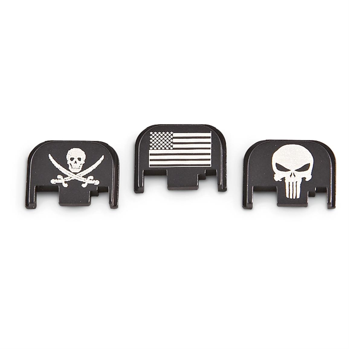 Engraved Glock Slide Plate; From Left to Right: Jolly Roger, American Flag, Punisher